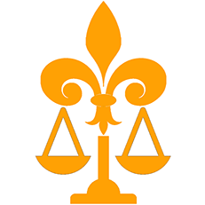 PMFA logo a combination of fleur-de-lis and legal scales.